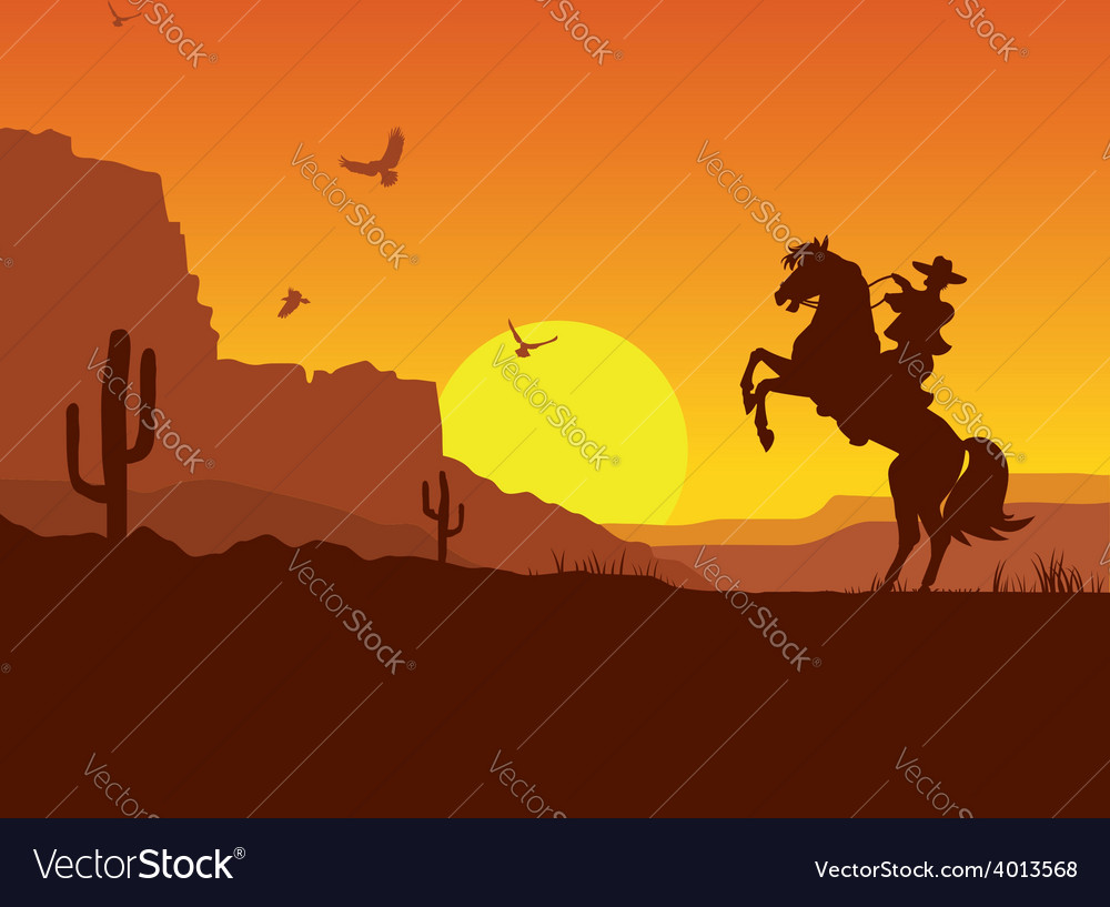 Wild west american desert landscape with cowboy on vector