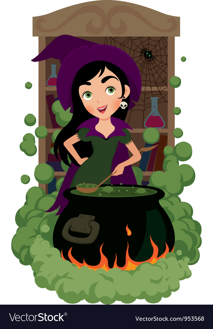 Witch cooks potion vector   Price: 5 Credit (USD $5)