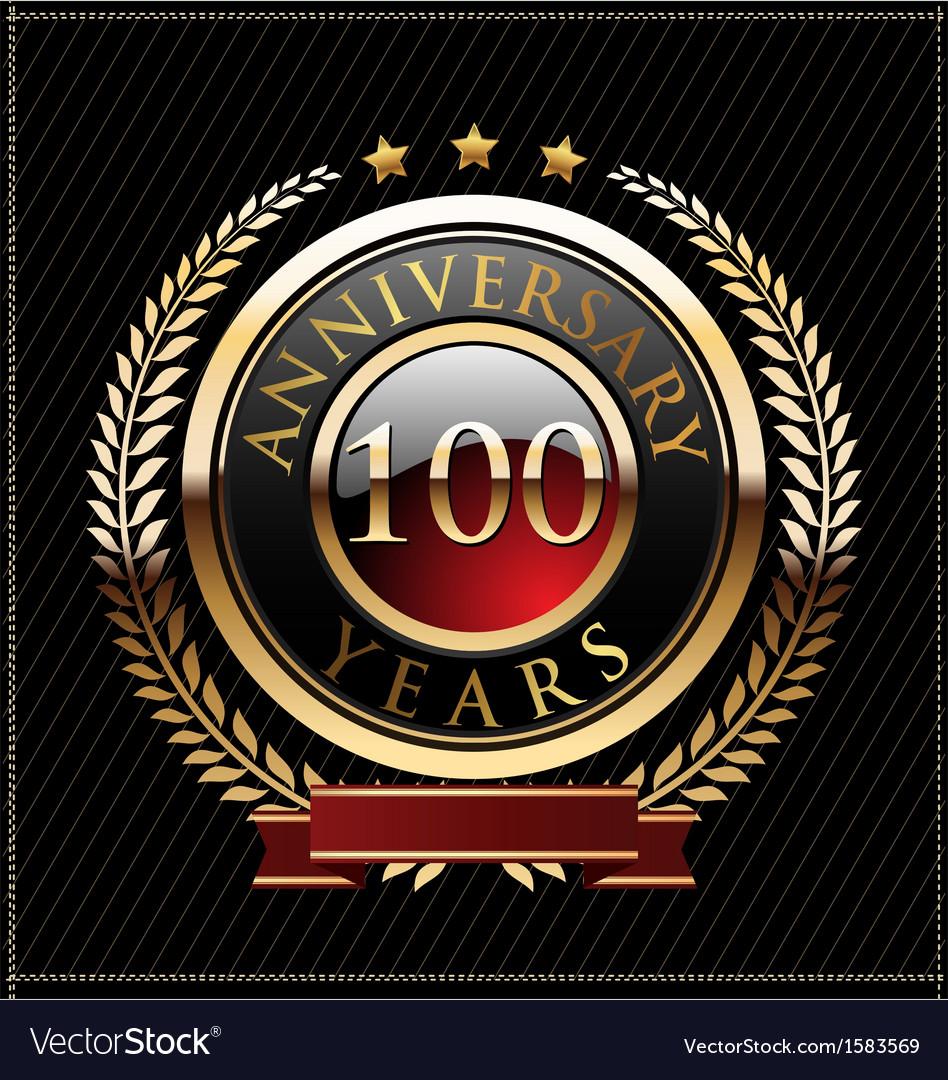 100 years anniversary golden label vector | Price: 1 Credit (USD $1)