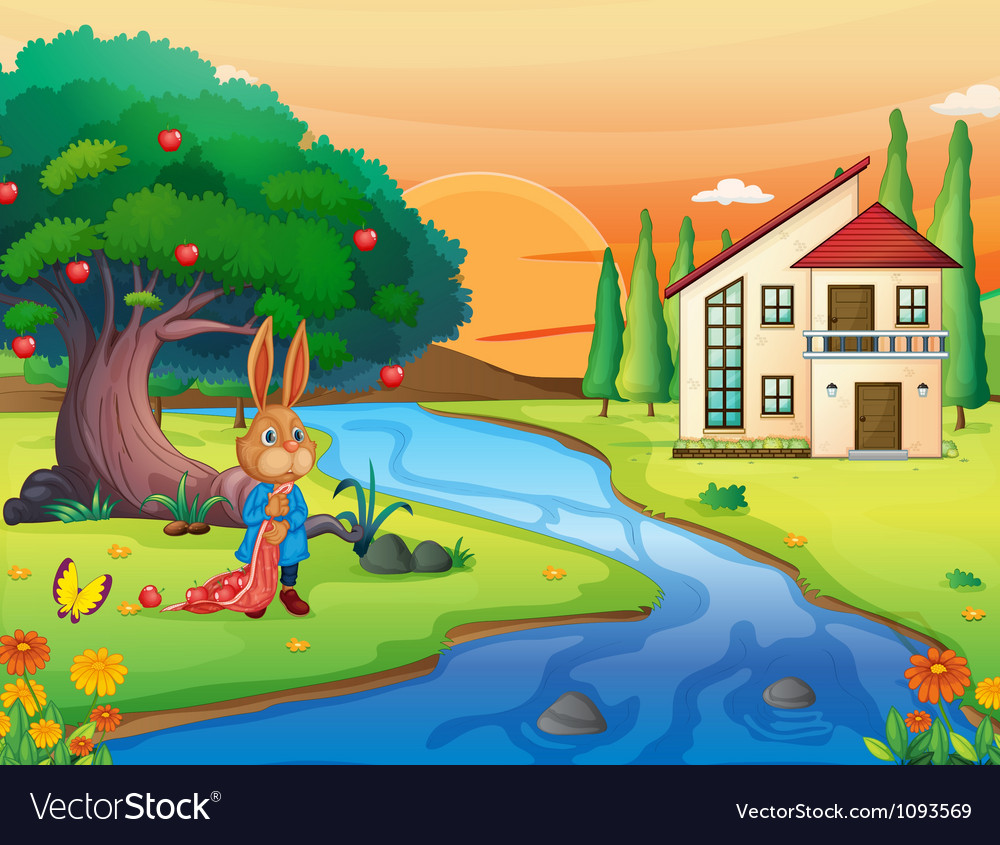 A rabbit in nature vector | Price: 1 Credit (USD $1)