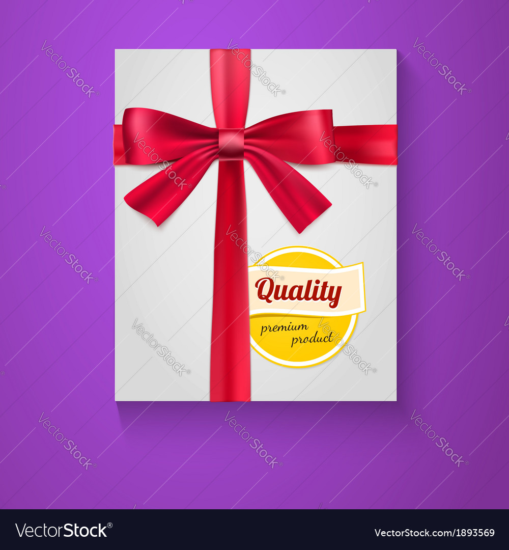 Box red ribbon bow and the badge quality vector | Price: 1 Credit (USD $1)