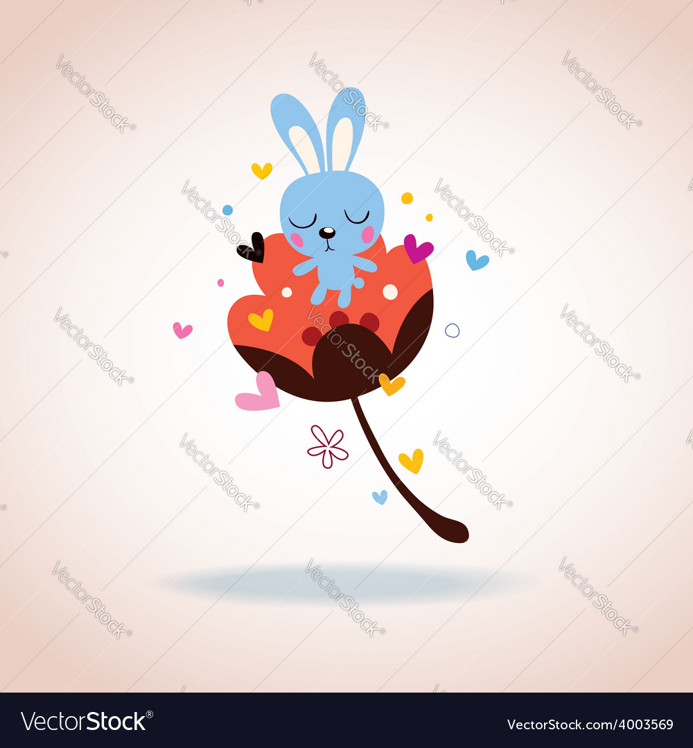 Bunny character in love vector | Price: 1 Credit (USD $1)