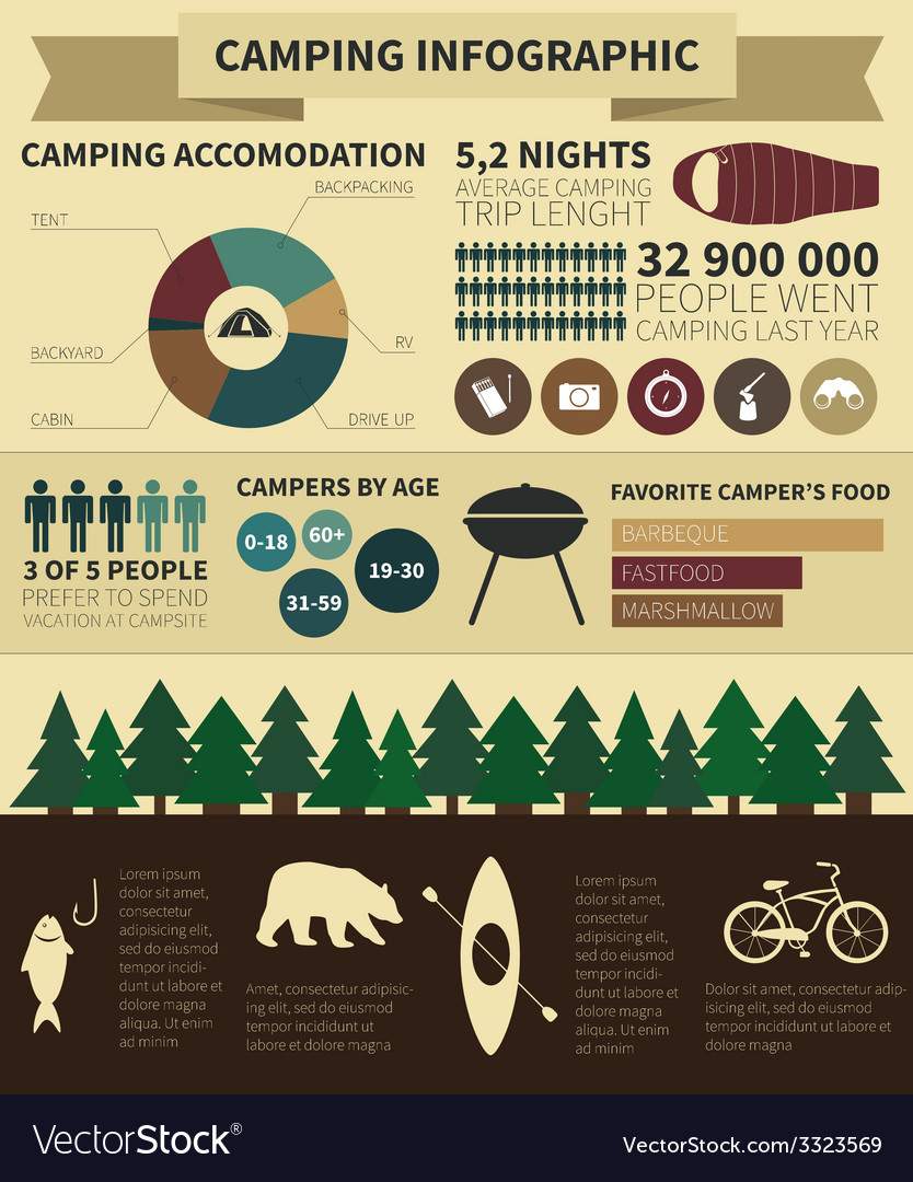 Camping infographic vector | Price: 1 Credit (USD $1)