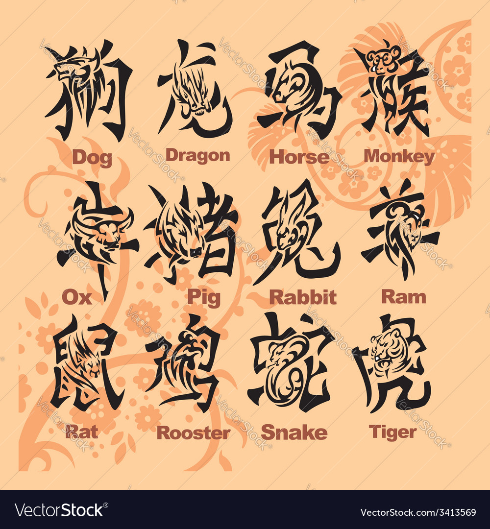 Chinese horoscope - set vector | Price: 1 Credit (USD $1)
