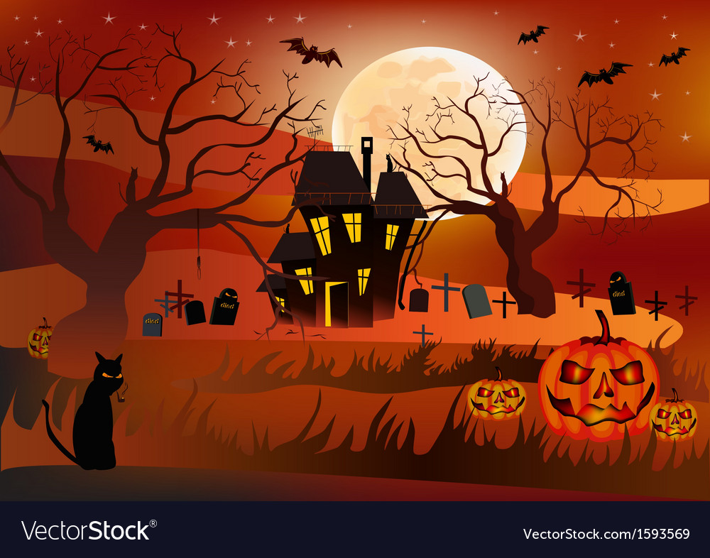 Halloween postcard vector | Price: 1 Credit (USD $1)