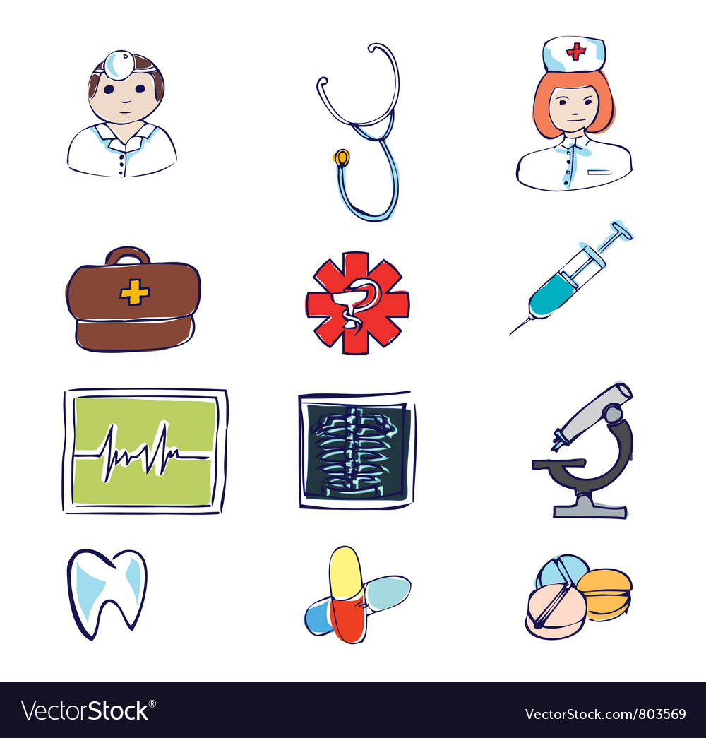 Medical and hospital symbols and icons vector   Price: 1 Credit (USD $1)