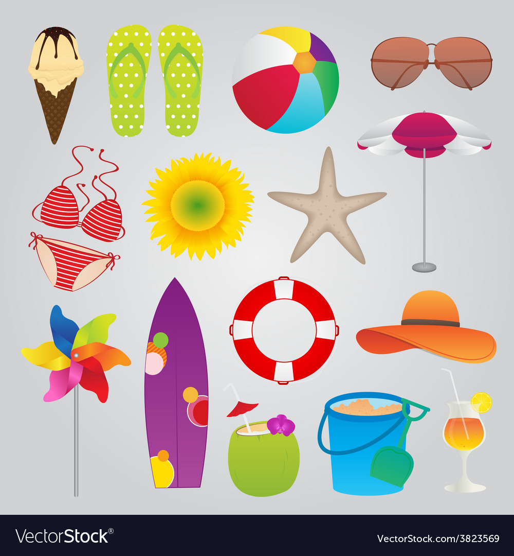 Summer and travel icons set vector | Price: 1 Credit (USD $1)