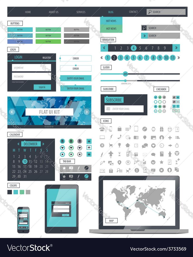 Ui kit responsive web design icons template mockup vector   Price: 1 Credit (USD $1)