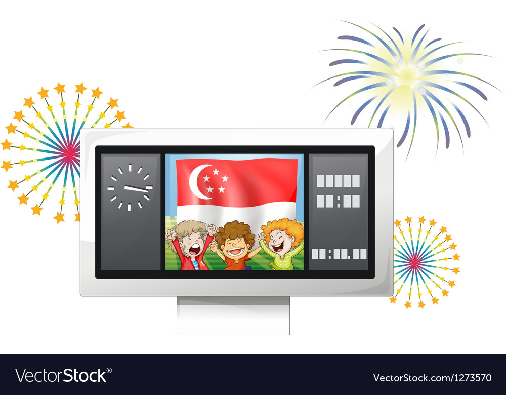 A scoreboard with the singaporean flag and the vector | Price: 1 Credit (USD $1)
