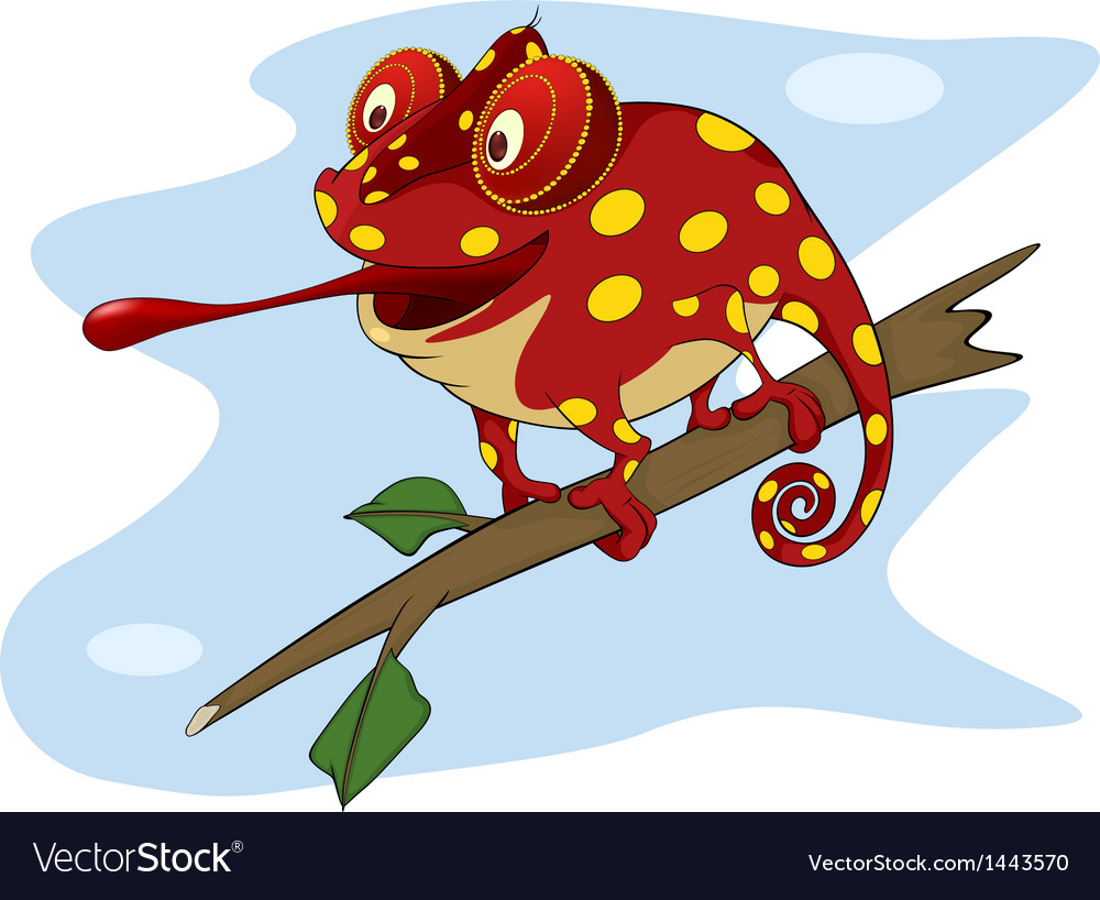 Big red chameleon cartoon vector | Price: 1 Credit (USD $1)