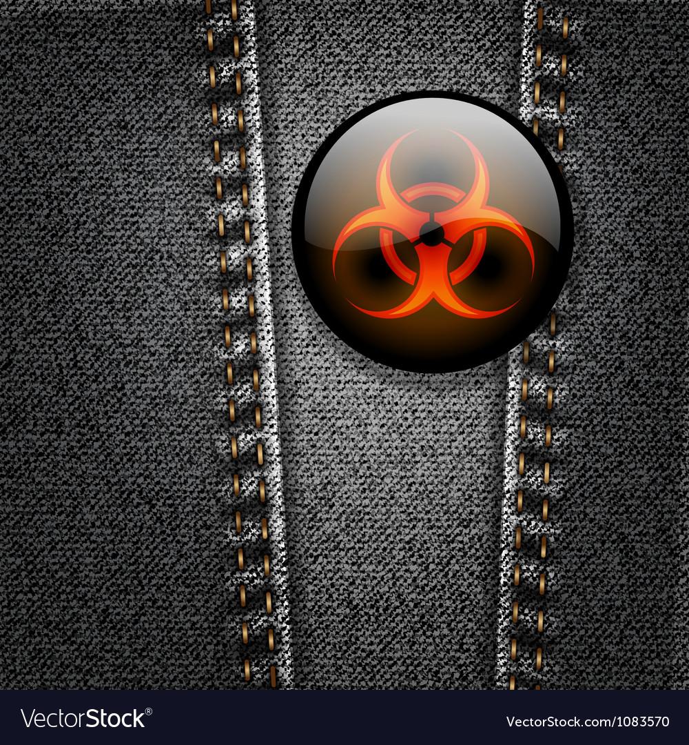 Biohazard badge on black denim texture vector | Price: 1 Credit (USD $1)