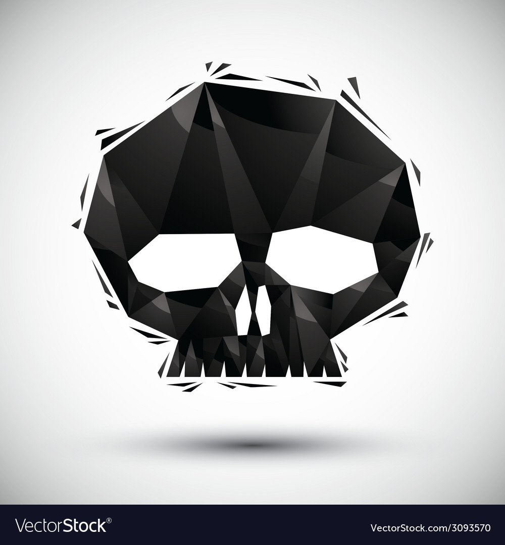 Black scull geometric icon made in 3d modern style vector | Price: 1 Credit (USD $1)
