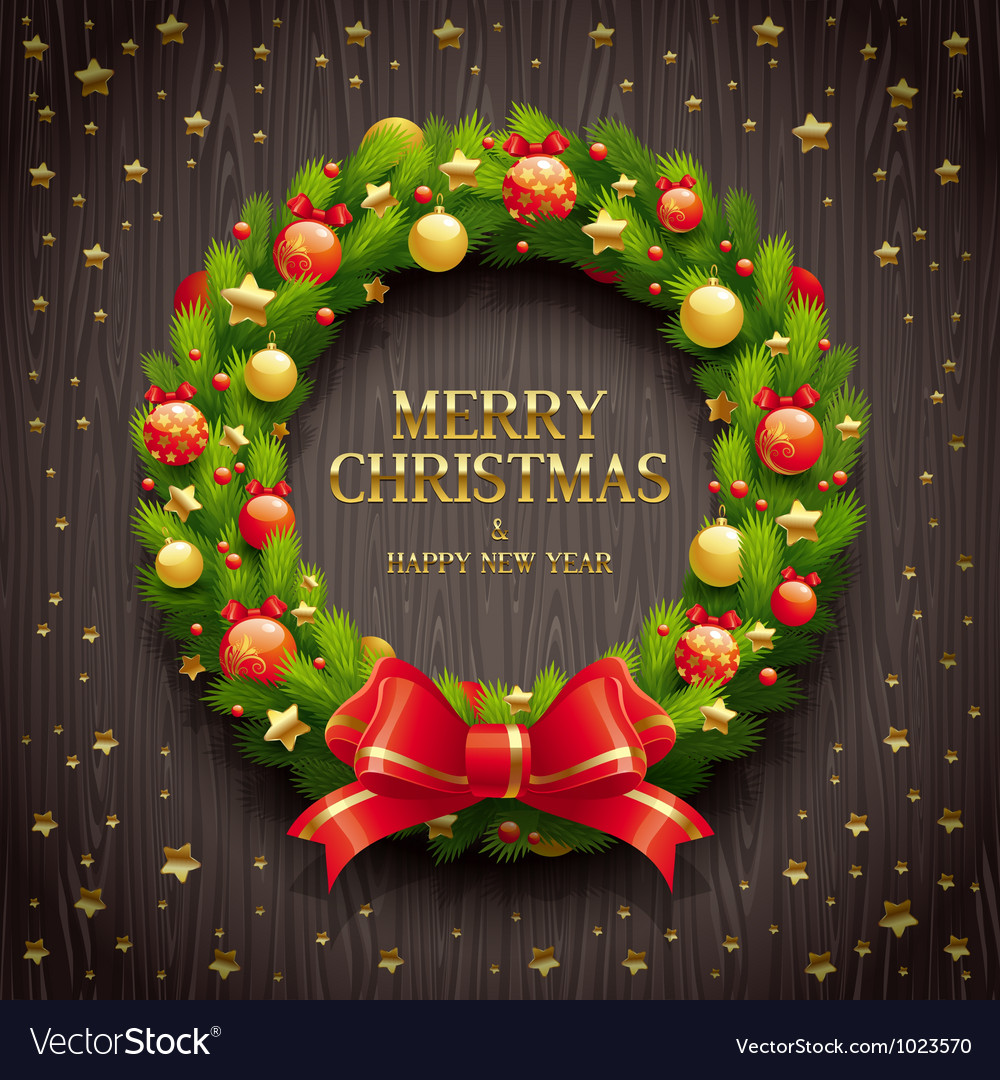 Christmas decorative wreath vector | Price: 1 Credit (USD $1)