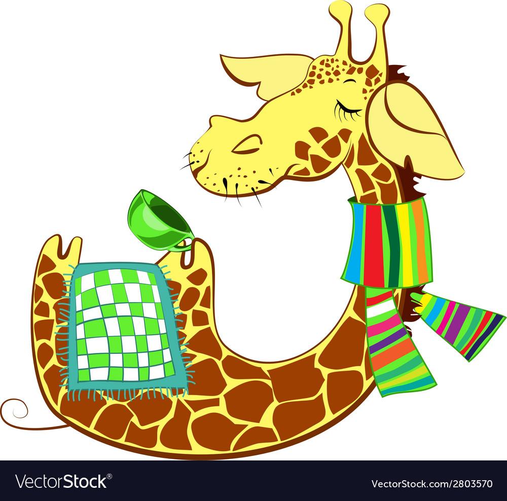 Cute giraffe got flue vector | Price: 1 Credit (USD $1)