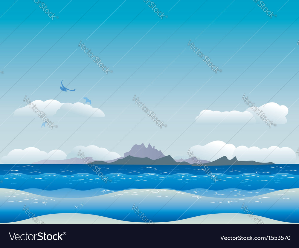 Islands in ocean vector | Price: 1 Credit (USD $1)