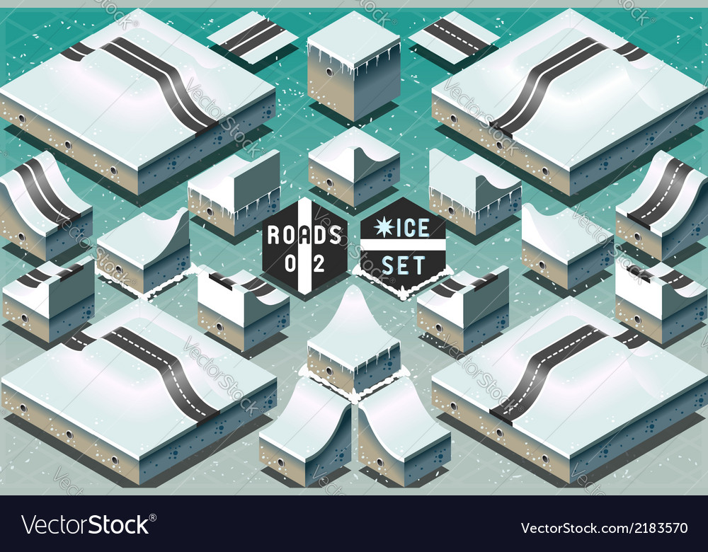 Isometric roads on two levels frozen terrain vector | Price: 1 Credit (USD $1)