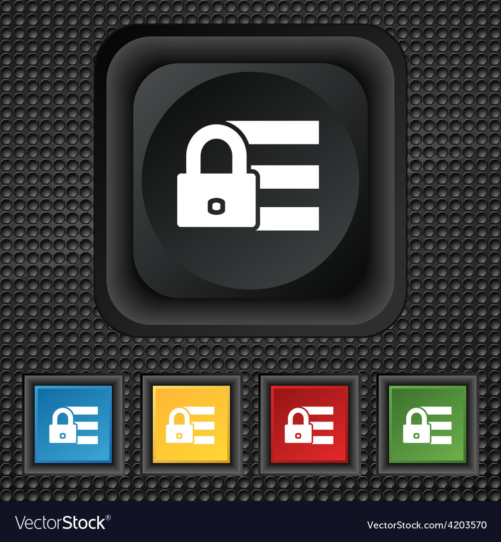 Lock login icon sign symbol squared colourful vector | Price: 1 Credit (USD $1)