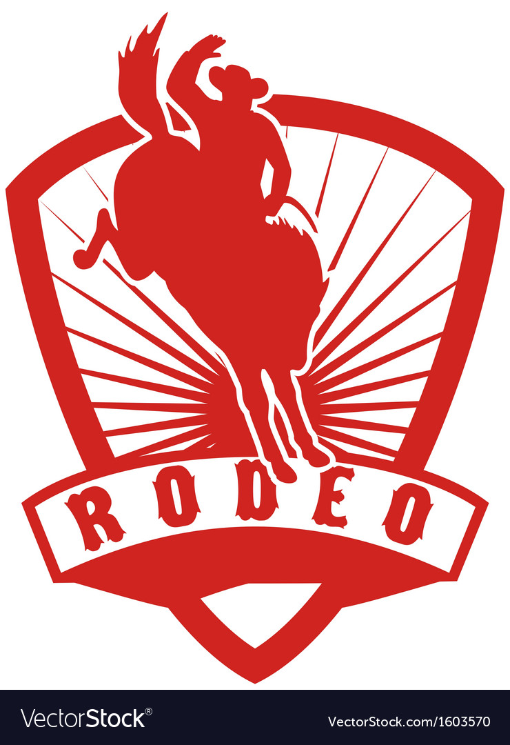 Rodeo cowboy bucking bronco vector | Price: 1 Credit (USD $1)