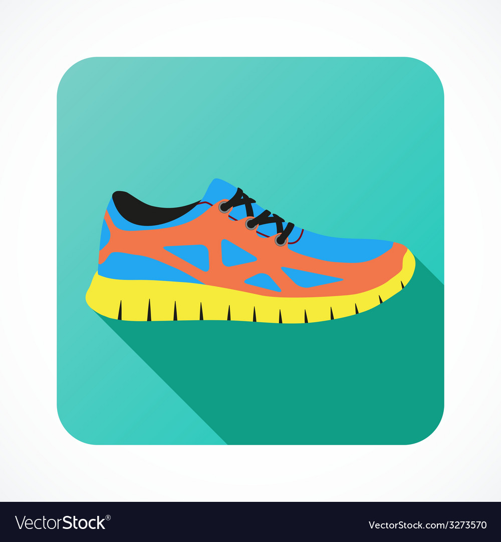 Shoes flat icon with bright colorful running vector | Price: 1 Credit (USD $1)