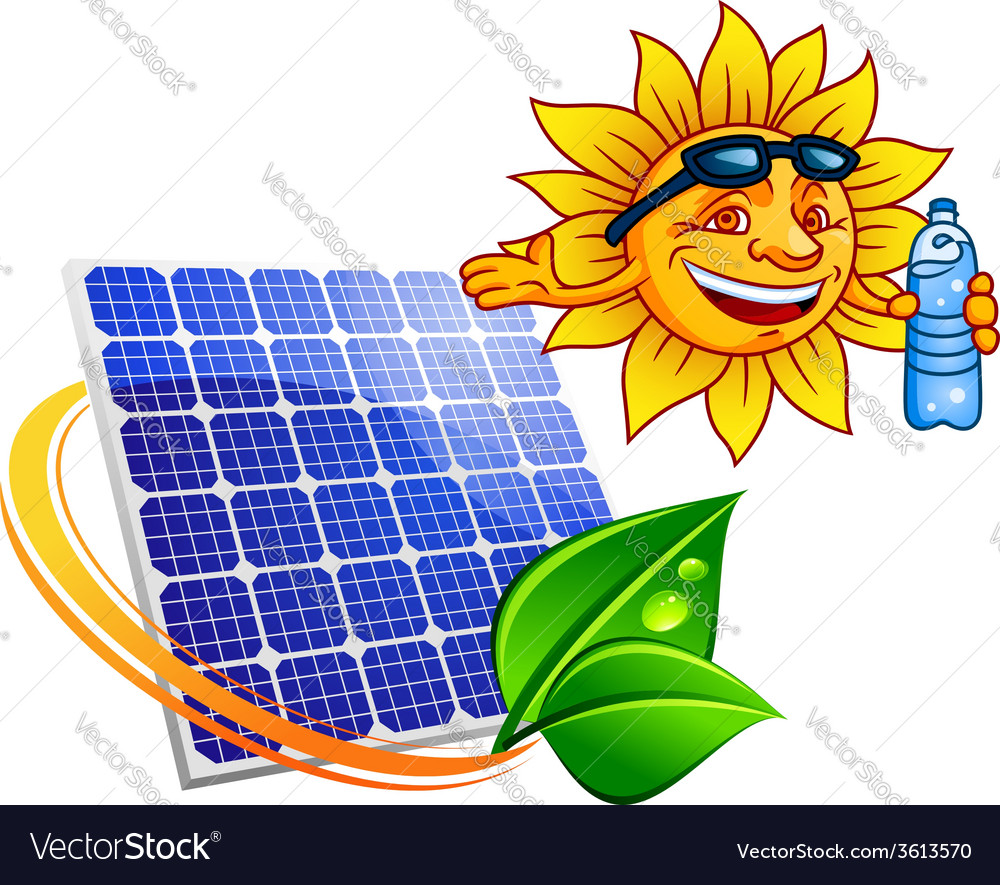 Solar panel with cartoon sun eco concept vector | Price: 1 Credit (USD $1)