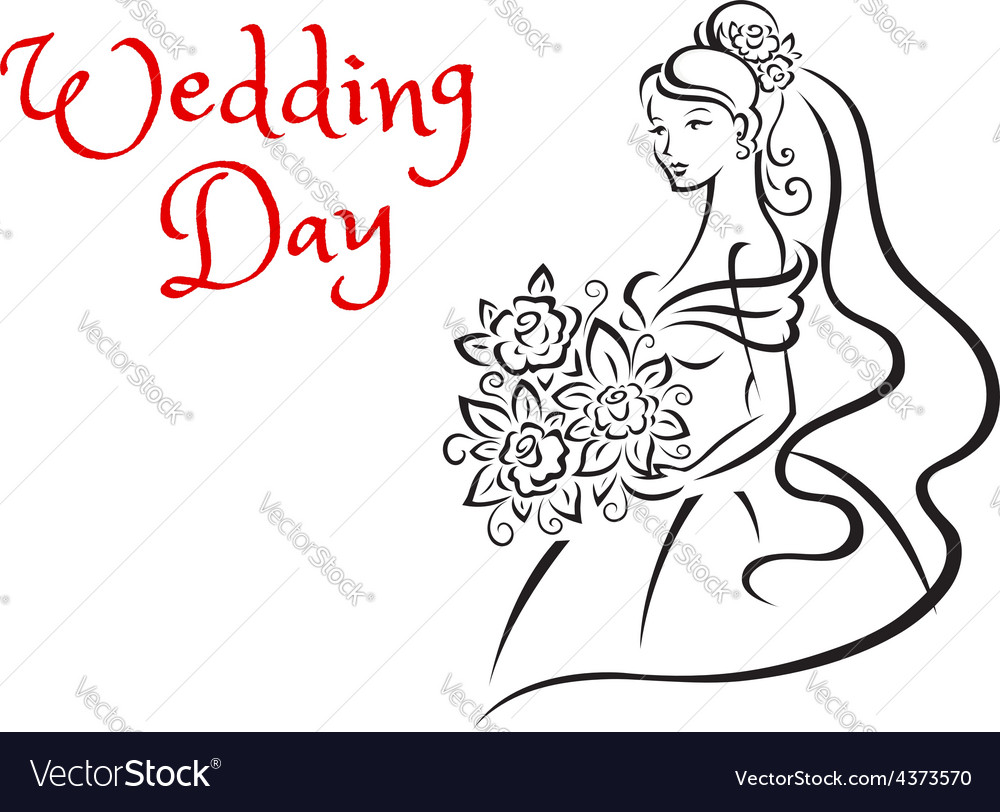 Wedding day card template with young bride vector | Price: 1 Credit (USD $1)