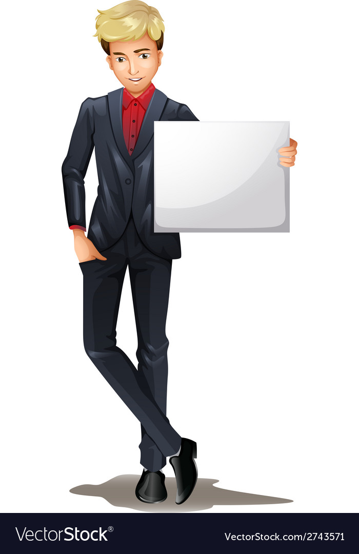 A man with an empty board vector | Price: 1 Credit (USD $1)