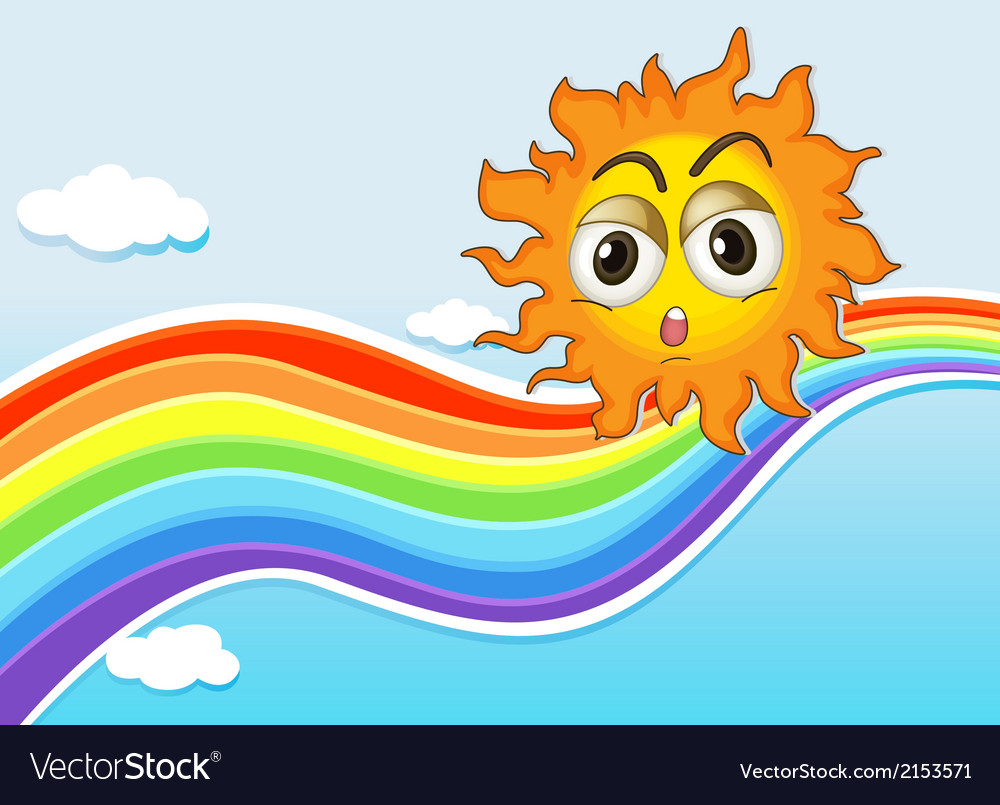 A sky with a sun and a rainbow vector | Price: 1 Credit (USD $1)