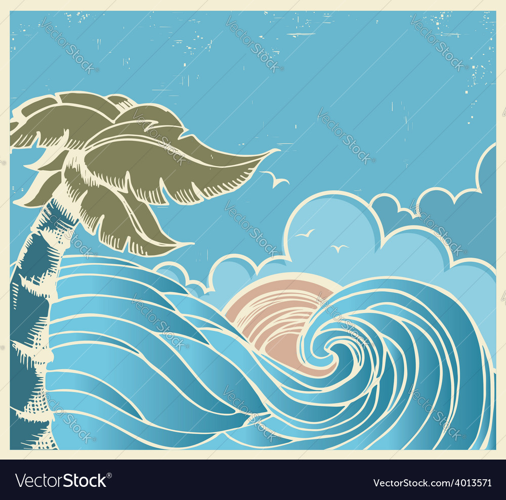 Blue seascape with big wave and sun on old poster vector | Price: 1 Credit (USD $1)