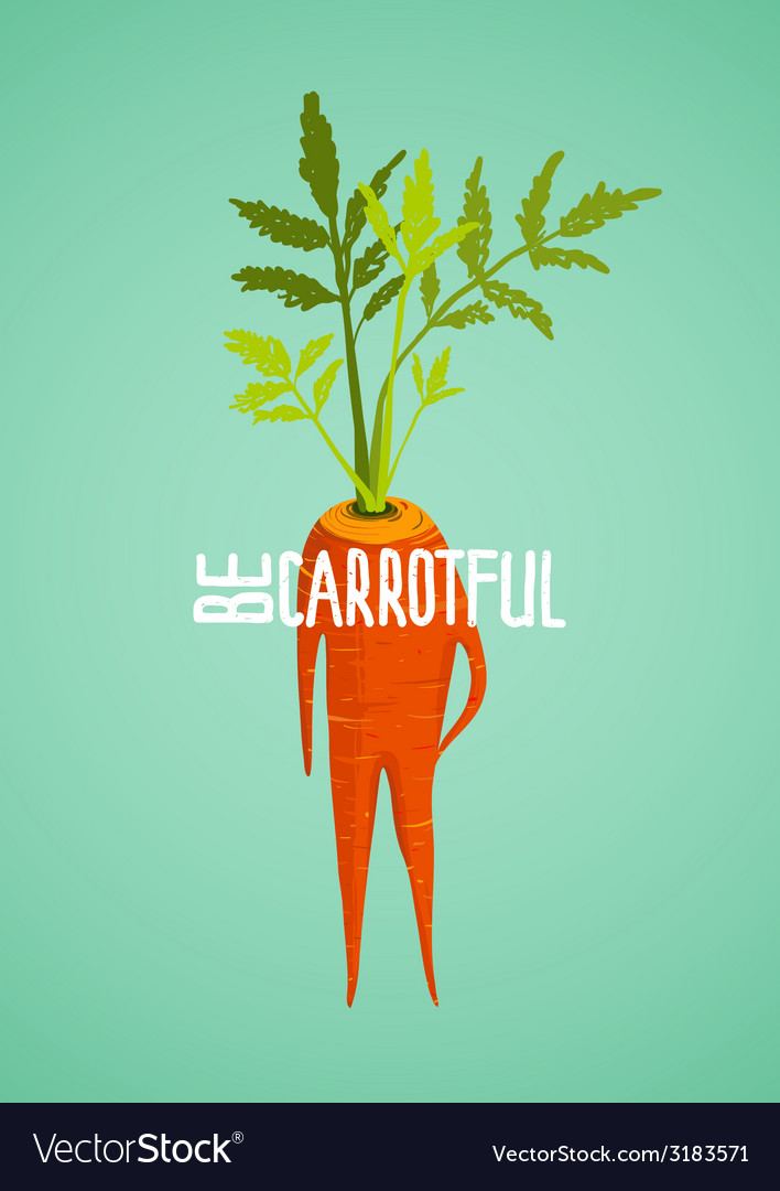 Carrot diet colorful inspirational vegetable vector | Price: 1 Credit (USD $1)
