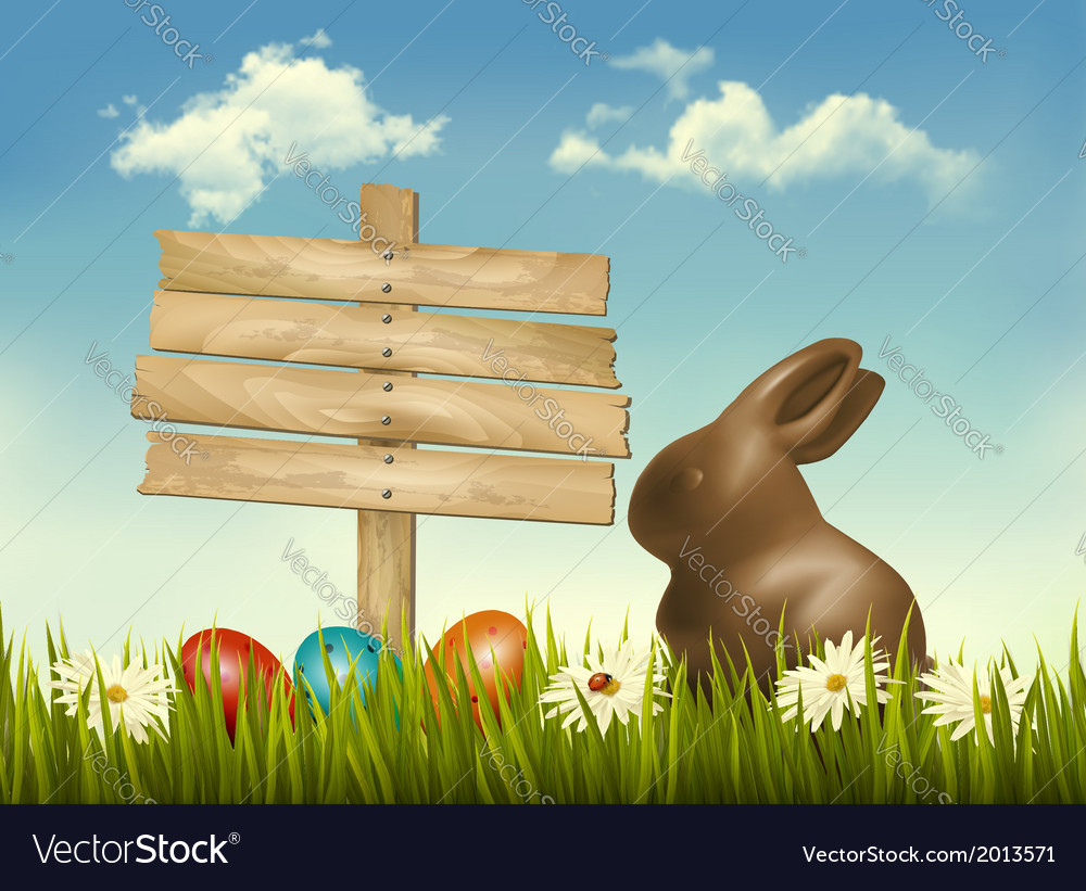 Chocolate bunny with easter eggs and a sign in a vector | Price: 1 Credit (USD $1)