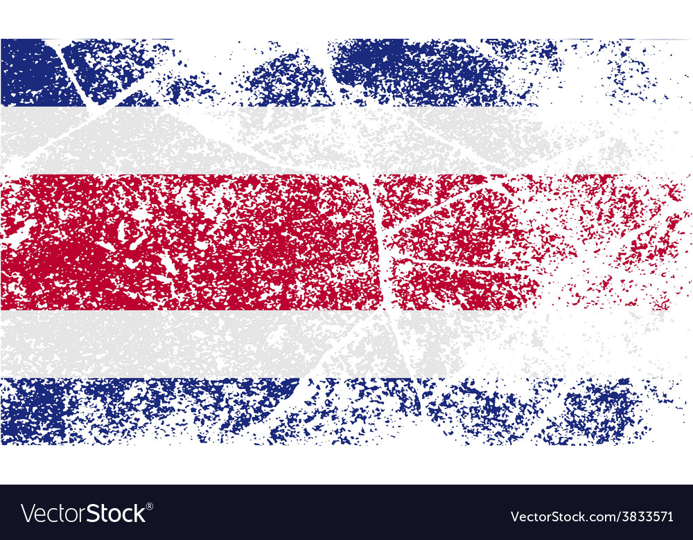Flag of costa rica with old texture vector | Price: 1 Credit (USD $1)