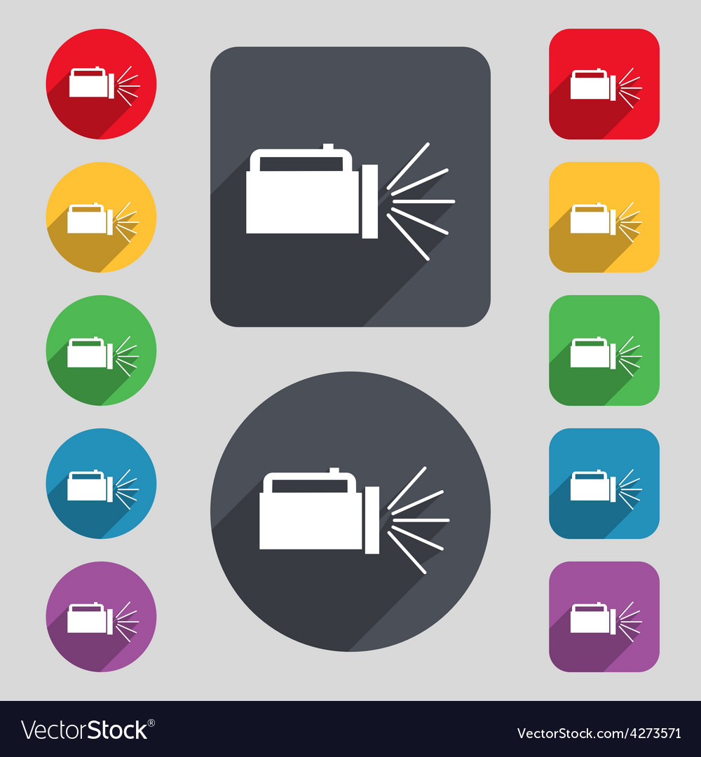 Flashlight icon sign a set of 12 colored buttons vector | Price: 1 Credit (USD $1)
