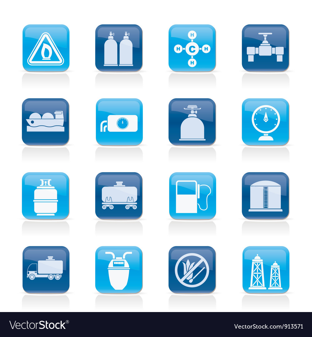 Natural gas objects and icons vector | Price: 1 Credit (USD $1)