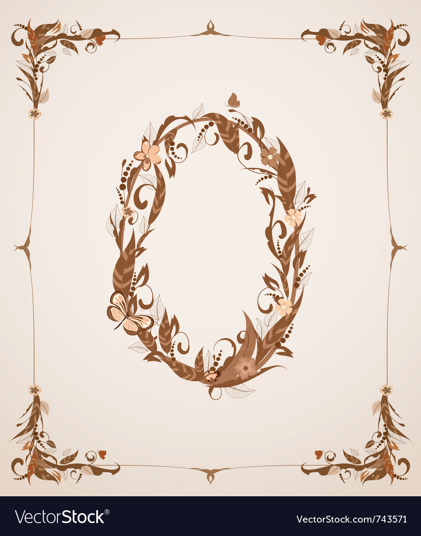 Retro vintage letter number in a frame vector | Price: 1 Credit (USD $1)