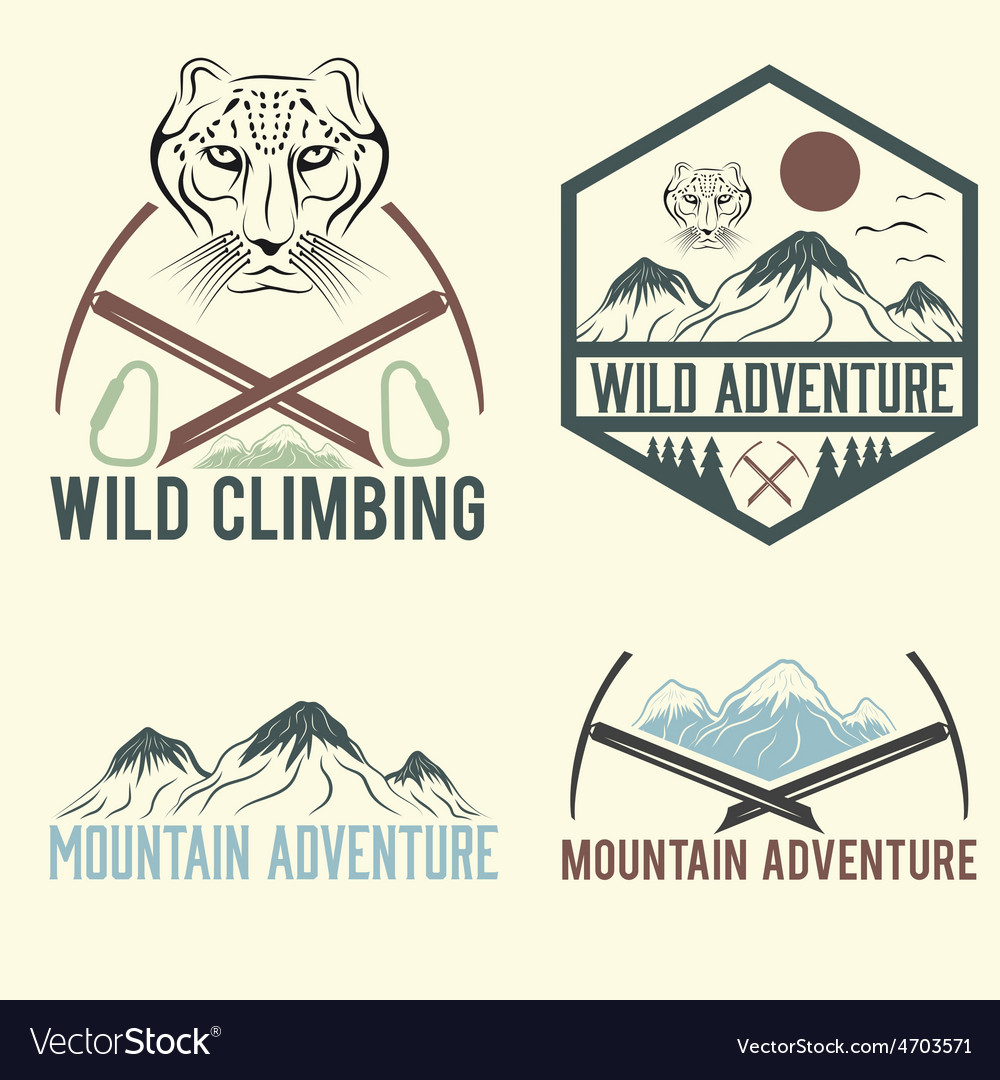 Set of vintage labels mountain adventure with snow vector | Price: 1 Credit (USD $1)