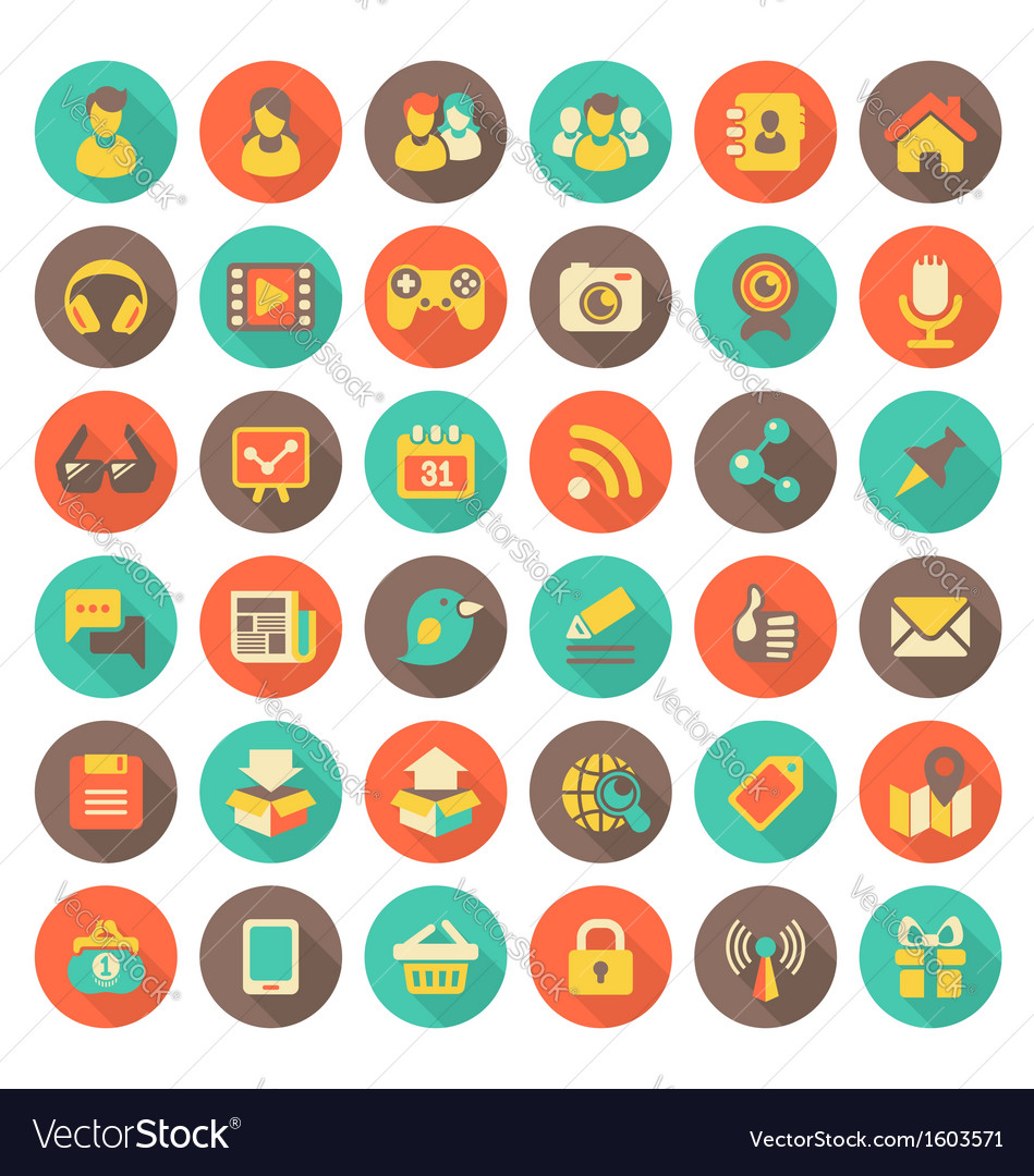 Social networking flat round icons with long shado vector | Price: 1 Credit (USD $1)