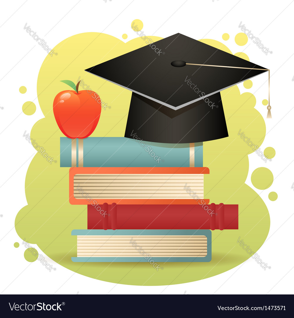 Traditional graduation hat books isolated vector | Price: 1 Credit (USD $1)