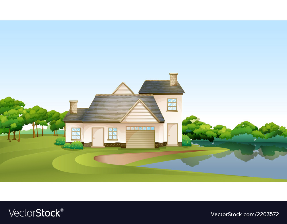 A big house at the forest near the river vector | Price: 3 Credit (USD $3)