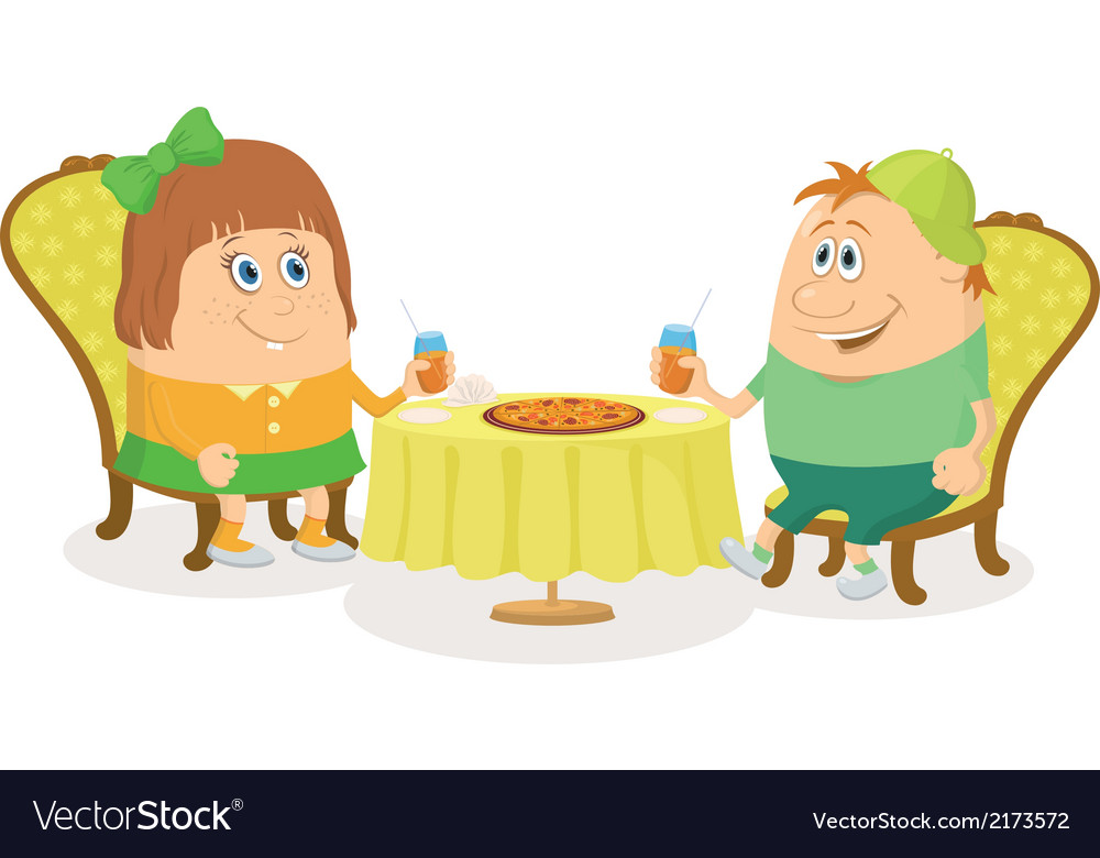 Children near table isolated vector | Price: 1 Credit (USD $1)