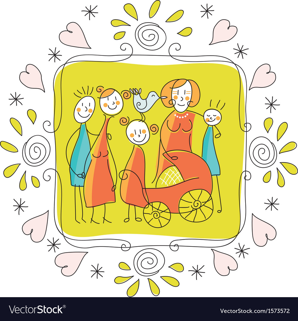 Cute family frame vector | Price: 1 Credit (USD $1)