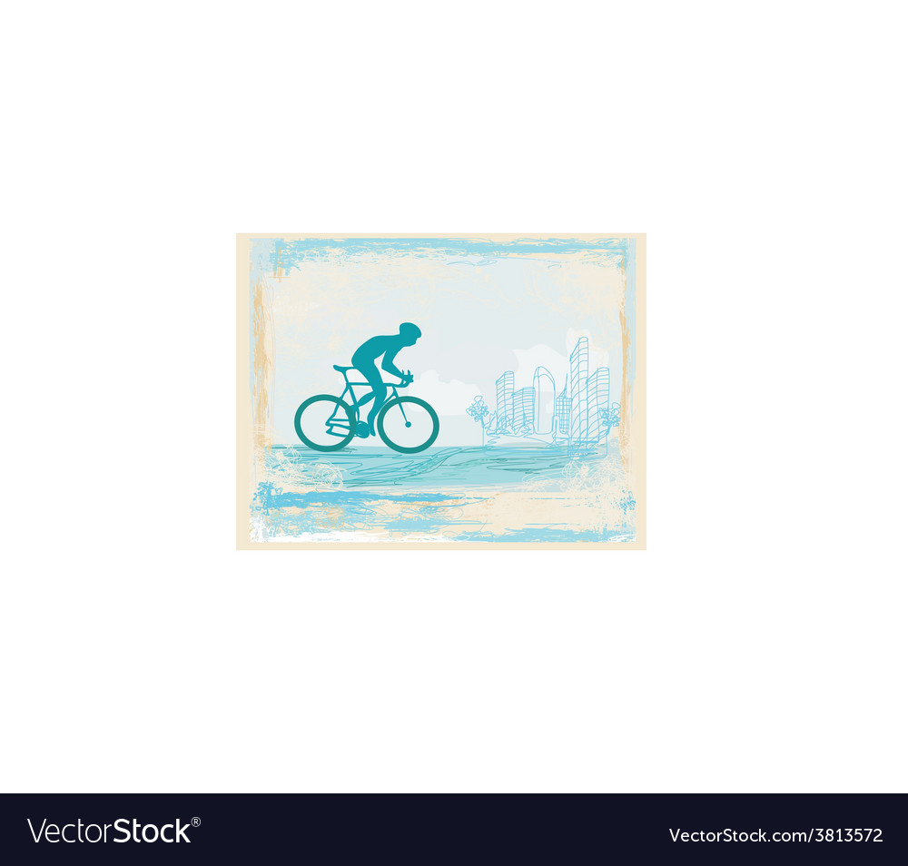 Cycling man silhouette on abstract grunge poster vector | Price: 1 Credit (USD $1)