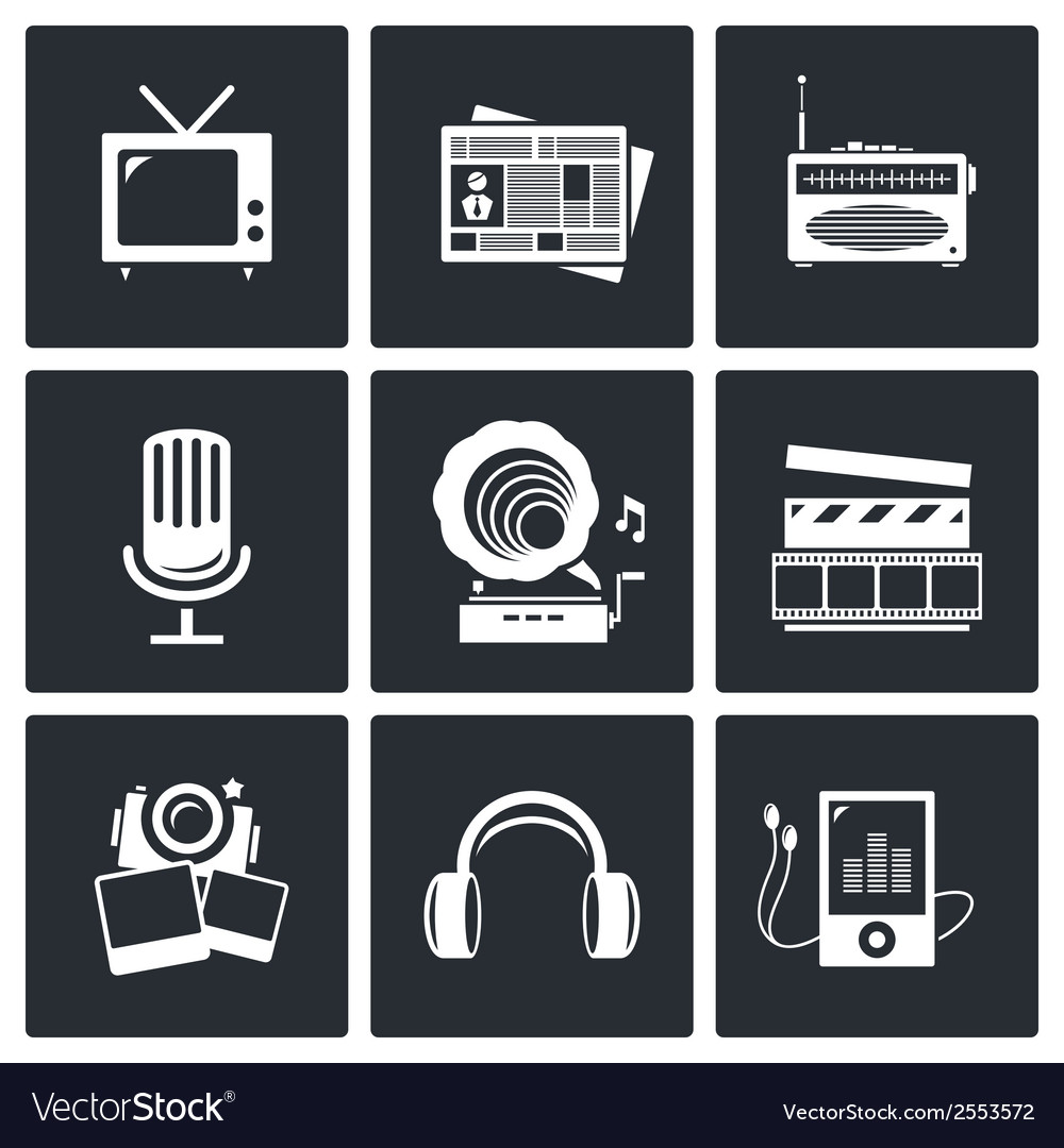 Media icon set - video news music tv recording vector | Price: 1 Credit (USD $1)