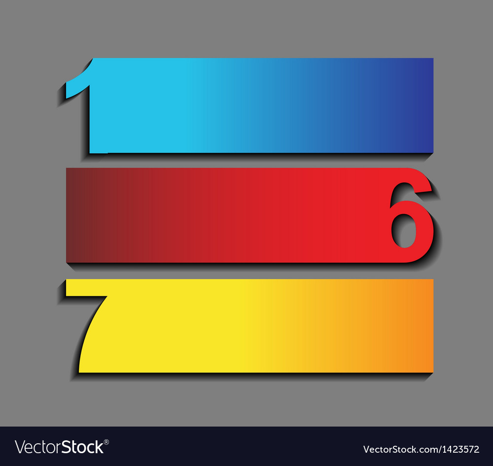One six seven the of progress icons in t vector | Price: 1 Credit (USD $1)