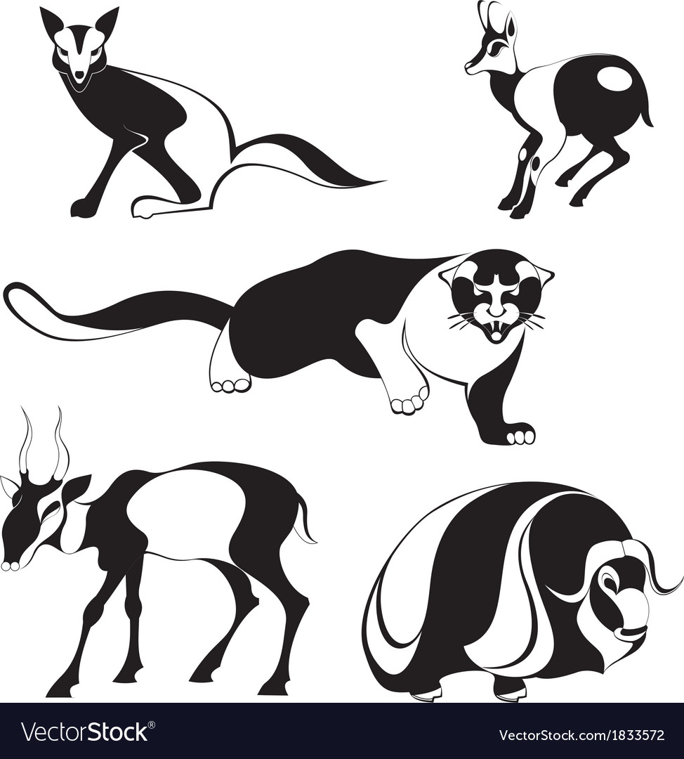 Original art animal silhouettes vector | Price: 1 Credit (USD $1)