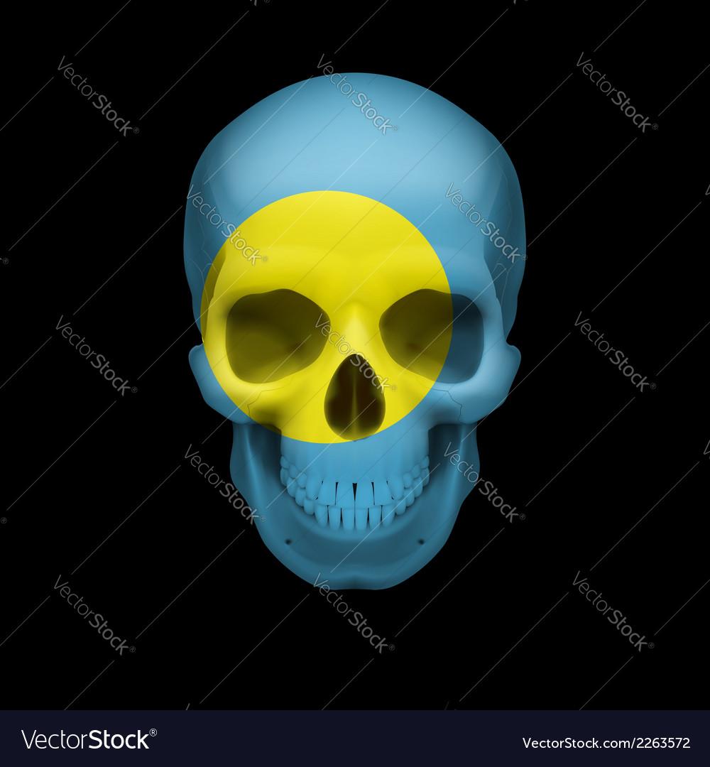 Palauan flag skull vector | Price: 1 Credit (USD $1)