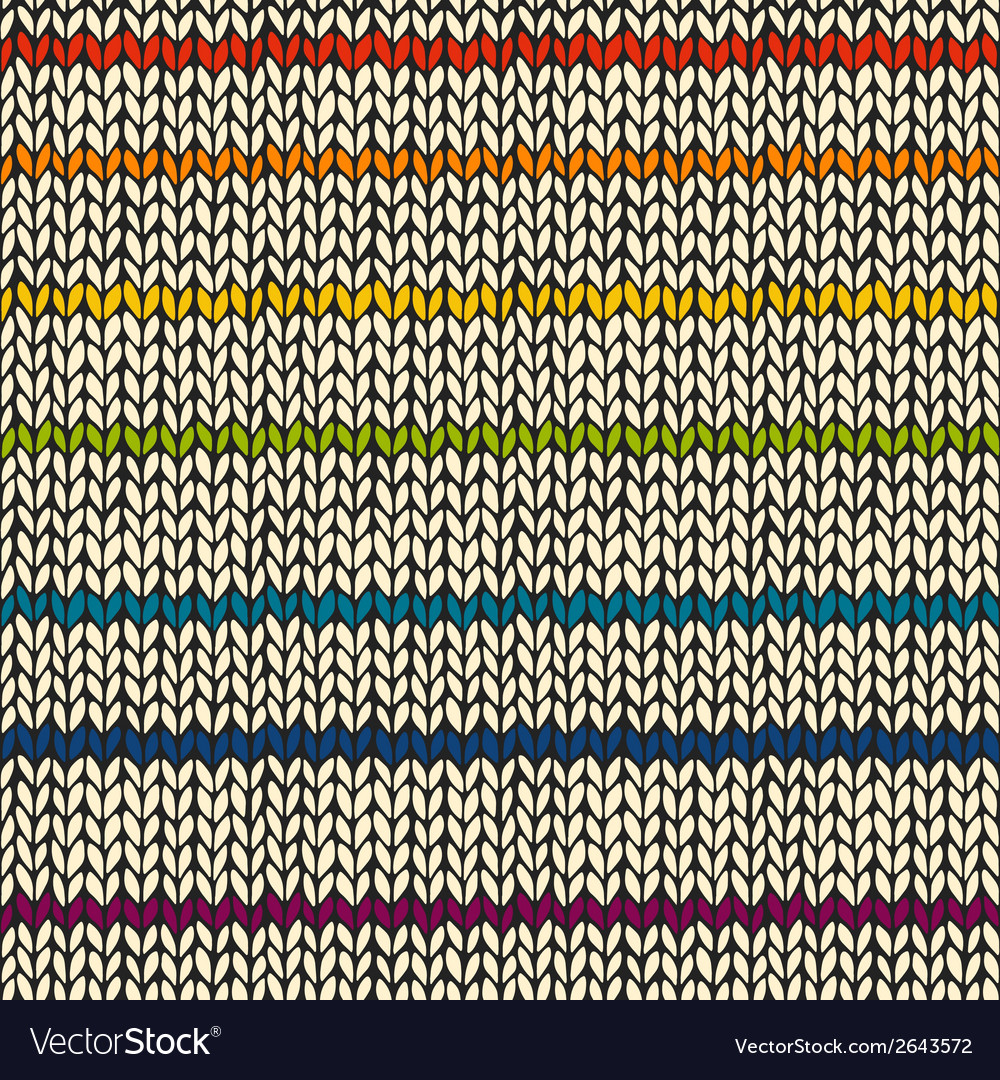 Seamless pattern with rainbow knitted stripes vector | Price: 1 Credit (USD $1)
