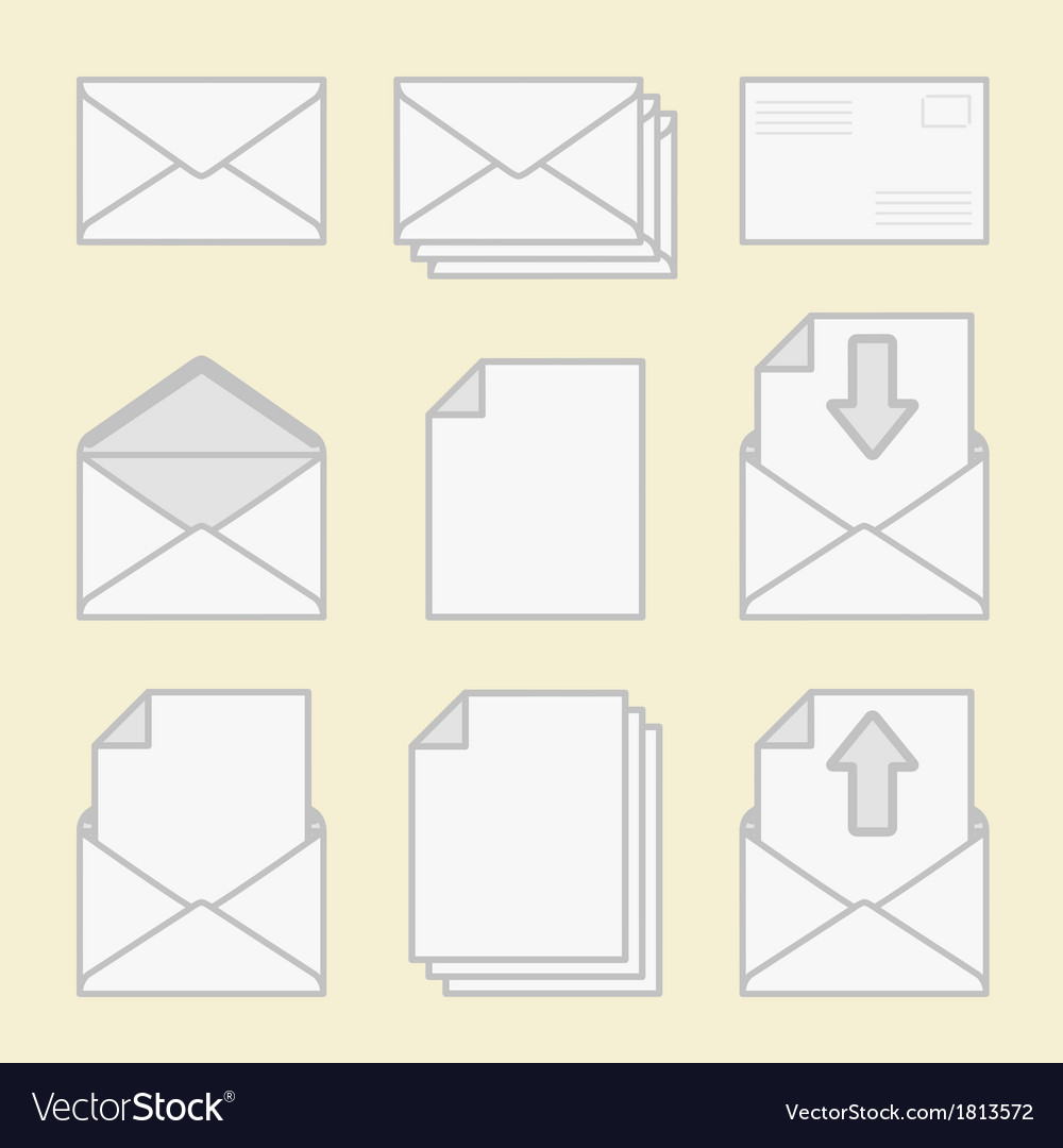 Set of icons envelopes and paper vector | Price: 1 Credit (USD $1)