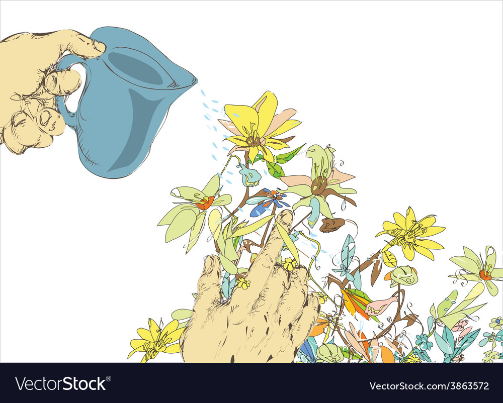 Watering flowers vector | Price: 1 Credit (USD $1)