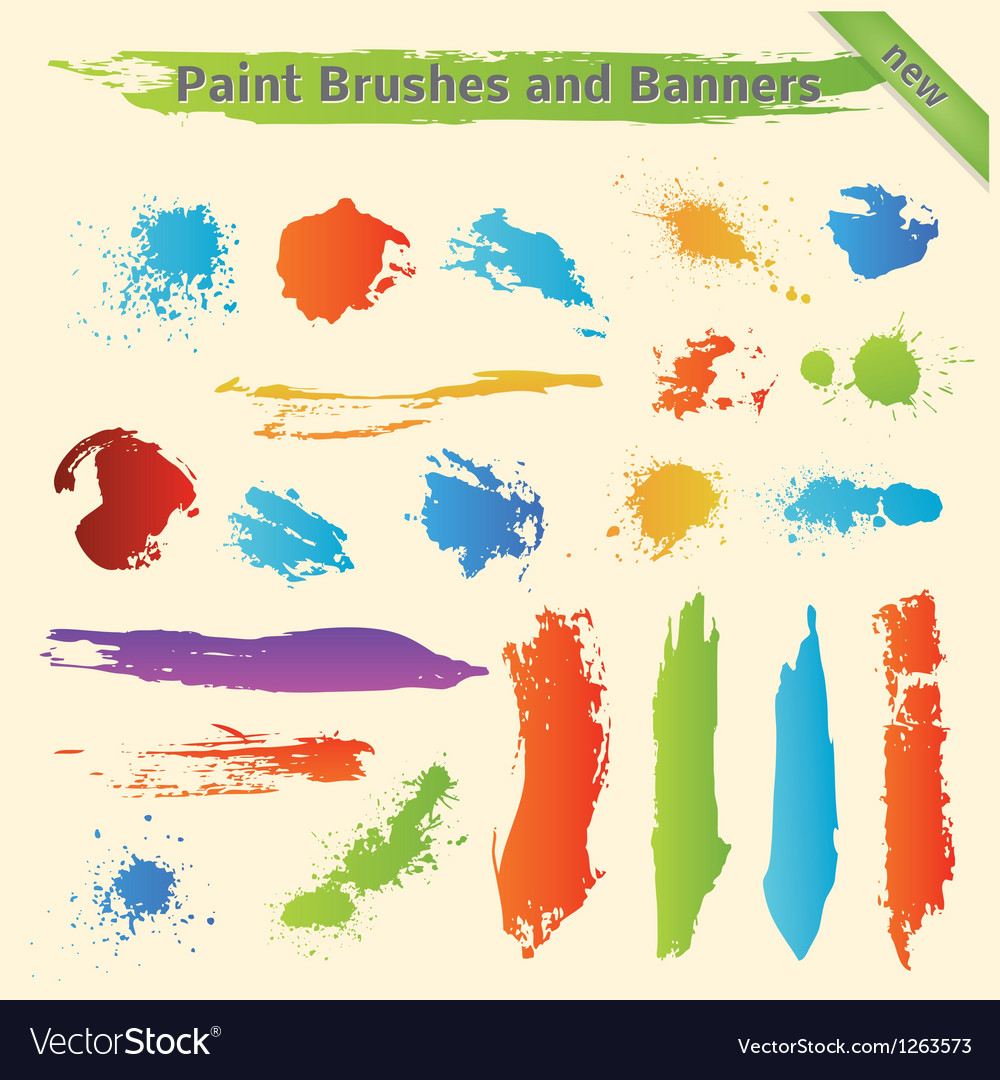 Brushes and paint banners vector | Price: 1 Credit (USD $1)