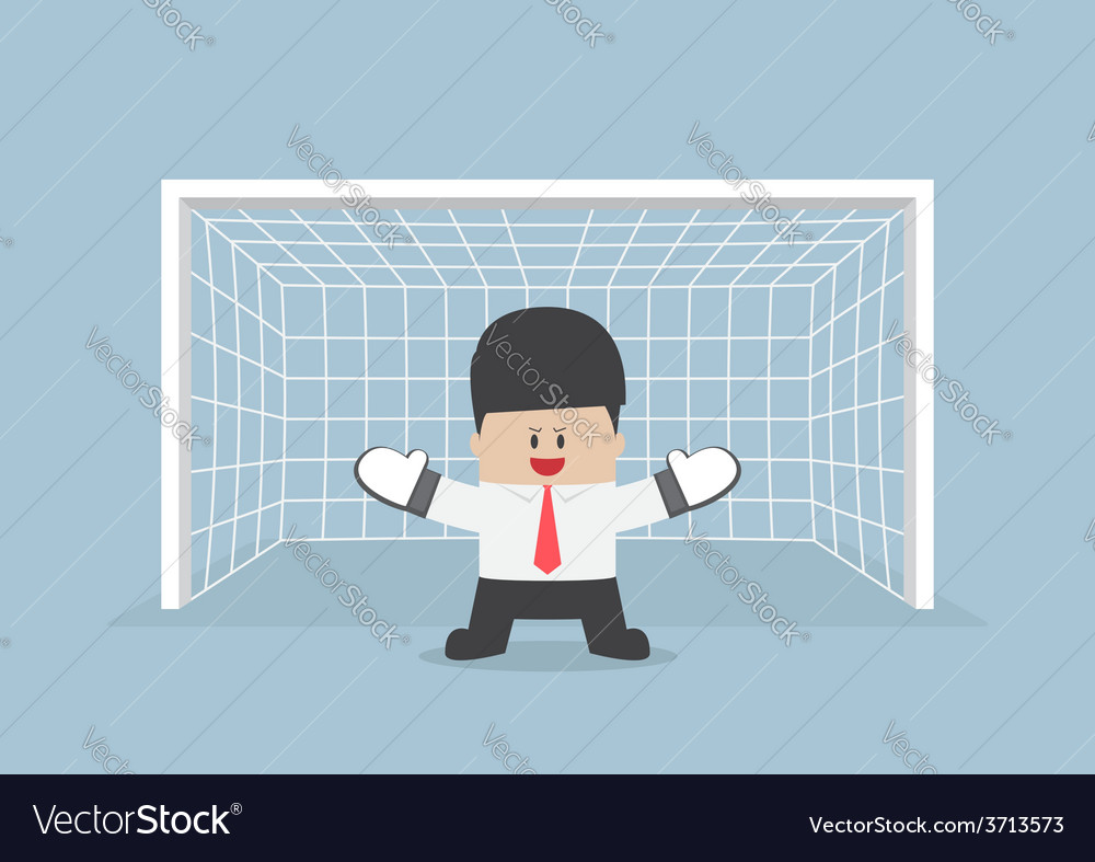 Businessman playing goalkeeper vector | Price: 1 Credit (USD $1)